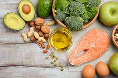 Selection of healthy products. Balanced diet concept. Royalty Free Stock Images