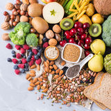 Selection of healthy rich fiber sources vegan food for cooking Royalty Free Stock Image