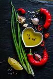 Selection of herbs and spices Stock Images