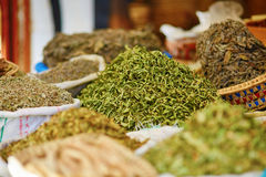 Selection of herbs on a traditional Moroccan market Royalty Free Stock Images