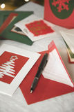 Selection of home made Christmas cards Royalty Free Stock Photos