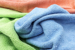 Selection of Household Cleaning Cloths. Jumbled up cleaning cloths ready to do Household Cleaning Royalty Free Stock Image