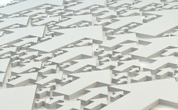 Selection of hundreds of white  arrows as a background. Different sized arrows viewed from above going in the same direction Stock Image