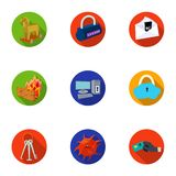 A selection of icons about protection and breaking. Modern technology of protection against breaking. Hackers and. Hacking icon in set collection on flat style Royalty Free Stock Photo