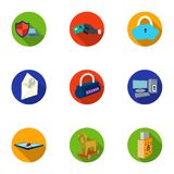 A selection of icons about protection and breaking. Modern technology of protection against breaking. Hackers and. Hacking icon in set collection on flat style Stock Image