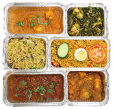 Selection of Indian Takeaway Curry Food stock photo