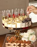 Dessert Buffet with Love and Hand selecting Royalty Free Stock Photos