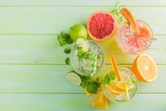 Selection of infused water for detox Stock Photos