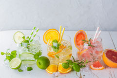 Selection of infused water for detox Royalty Free Stock Image