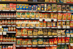 Selection of italian pasta on the shelves in a supermarket Siam Paragon, Bangkok. Royalty Free Stock Photography