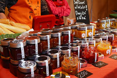 Selection of jams on street food festival Royalty Free Stock Image