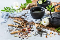 Selection of japanese chinese herbal masala tea teapot. Food and drink, still life concept. Selection assortment of different japanese chinese herbal masala tea Royalty Free Stock Image