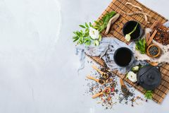 Selection of japanese chinese herbal masala tea teapot. Food and drink, still life concept. Selection assortment of different japanese chinese herbal masala tea Royalty Free Stock Photo
