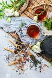 Selection of japanese chinese herbal masala tea teapot. Food and drink, still life concept. Selection assortment of different japanese chinese herbal masala tea Stock Images