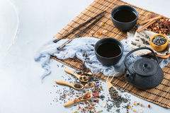 Selection of japanese chinese herbal masala tea teapot. Food and drink, still life concept. Selection assortment of japanese chinese herbal masala tea infusion Stock Image