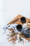 Selection of japanese chinese herbal masala tea teapot. Food and drink, still life concept. Selection assortment of japanese chinese herbal masala tea infusion Royalty Free Stock Images