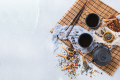 Selection of japanese chinese herbal masala tea teapot. Food and drink, still life concept. Selection assortment of japanese chinese herbal masala tea infusion Stock Photo