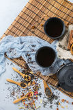 Selection of japanese chinese herbal masala tea teapot. Food and drink, still life concept. Selection assortment of japanese chinese herbal masala tea infusion Stock Photography