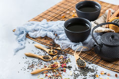 Selection of japanese chinese herbal masala tea teapot. Food and drink, still life concept. Selection assortment of japanese chinese herbal masala tea infusion Stock Photos