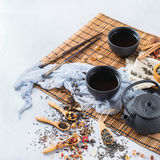 Selection of japanese chinese herbal masala tea teapot. Food and drink, still life concept. Selection assortment of japanese chinese herbal masala tea infusion Royalty Free Stock Photos