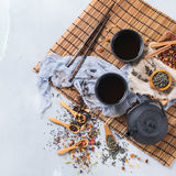 Selection of japanese chinese herbal masala tea teapot. Food and drink, still life concept. Selection assortment of japanese chinese herbal masala tea infusion Royalty Free Stock Photography