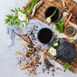 Selection of japanese chinese herbal masala tea teapot. Food and drink, still life concept. Selection assortment of different japanese chinese herbal masala tea Royalty Free Stock Images