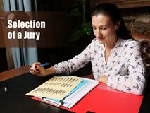 Selection of a Jury sign. Closeup portrait of unrecognizable successful Businesswoman wearing formal suit reading documents