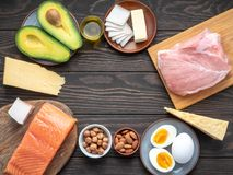 Selection of Ketogenic diet products on wooden background with copyspace in the center. Ketogenic diet eating concept royalty free stock photography