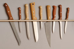 Selection of kitchen knives Stock Images