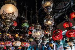 Selection of lamps. A shot of selection of hanging lamps taken at a local shop in Istanbul Turkey Stock Photo