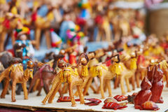 Selection of leather camels on a traditional Moroccan market Royalty Free Stock Photography
