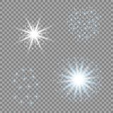 Selection of light stars on a transparent background. Blue vector glare for your design. stock illustration