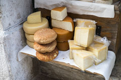 Selection of local cheeses. Sold on the street of Rovinj, Croatia Royalty Free Stock Photography