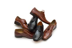 Selection of males shoes isolated on the white Stock Image