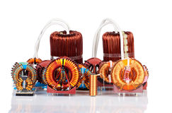 Selection of many Industrial Toroidal Choke Coils Royalty Free Stock Photo