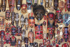A selection of masks for sale in the Nubian village of Garb-Sohel in the Aswan region of Egypt. Royalty Free Stock Images