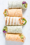Selection of mexican healthy burrito wraps Stock Photography