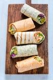 Selection of mexican healthy burrito wraps Stock Photos