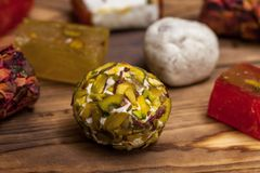 Selection of middle eastern desserts with pistachio and turkish delight Stock Images