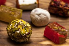 Selection of middle eastern desserts with pistachio and turkish delight Stock Photography