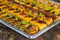 Selection of middle Eastern sweets Stock Photo