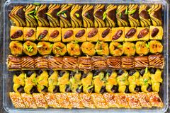 Selection of middle Eastern sweets Stock Images