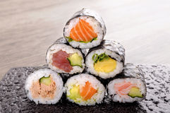Selection of mini sushi roll Royalty Free Stock Photography