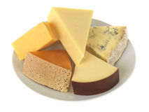 Selection of Mixed Cheeses Stock Photos