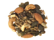 Selection of Mixed Seeds and Nuts Stock Images