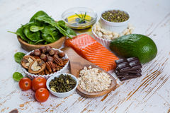 Selection of nutritive food - heart, cholesterol, diabetes. Copy space stock photo
