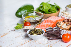 Selection of nutritive food - heart, cholesterol, diabetes Royalty Free Stock Images