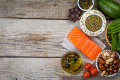 Selection of nutritive food - heart, cholesterol, diabetes. Copy space stock photography