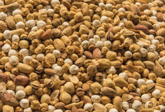 Selection of nuts on display at a market stall Royalty Free Stock Images