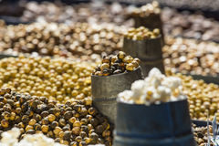 Selection of nuts on the local market in Kathmandu. Stock Images